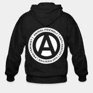 Hoodie à fermeture éclair Animal-friendly / anti-fascist / gay-positive / pro-feminist