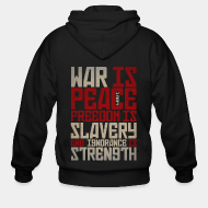 Hoodie à fermeture éclair War is peace - Freedom is slavery and ignorance is strength (1984)