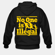 Hoodie à fermeture éclair Refugees welcome - no one is illegal