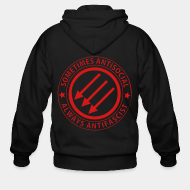 Hoodie à fermeture éclair Sometimes antisocial always antifascist