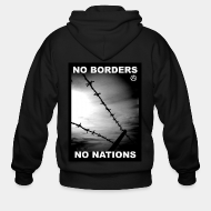 Hoodie à fermeture éclair No borders no nations