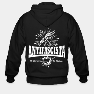 Hoodie à fermeture éclair Antifascista! No borders, no nations.