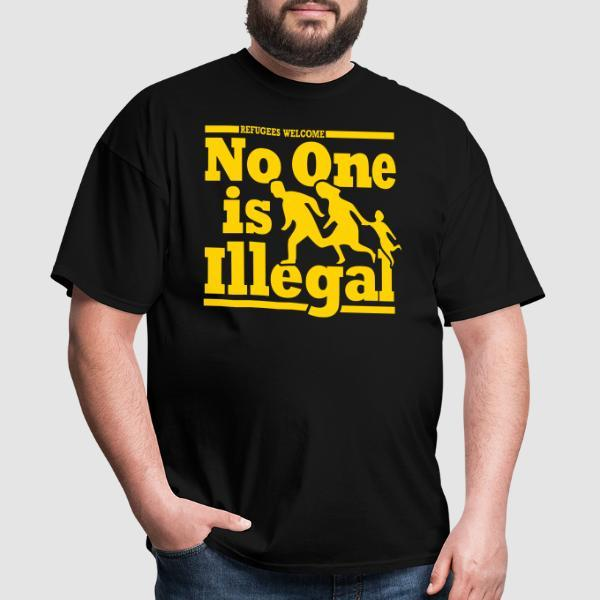Refugees welcome - no one is illegal - T-shirt Anti-Fasciste