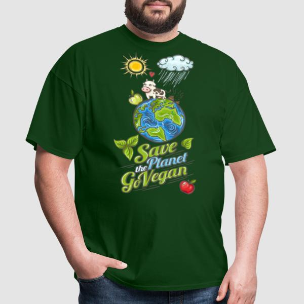 Save the planet go vegan - T-shirt véganes et libération animale
