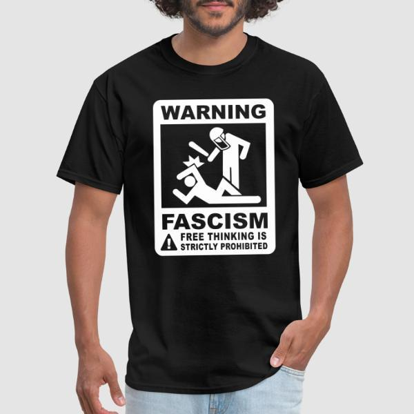 Warning fascism free thinking is strictly prohibited - T-shirt ACAB anti-violence-policiere