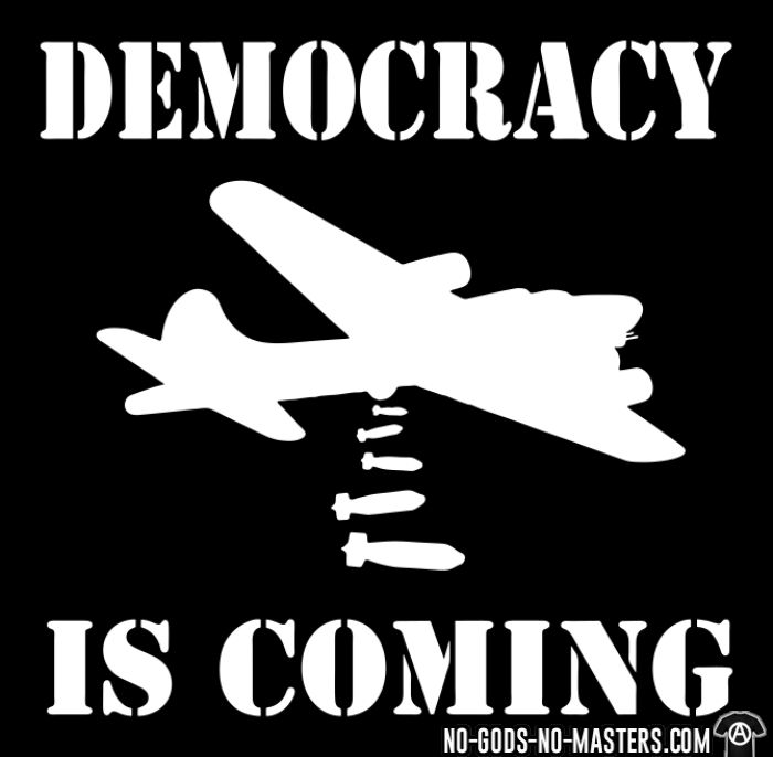 Democracy is coming - T-shirt anti-guerre