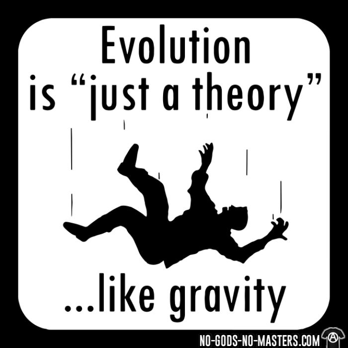 Evolution is ''just a theory'' ...like gravity - T-shirt humour engagé
