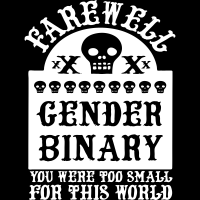 Farewell gender binary you were too small for this world - T-shirt imprimé au dos Féministe