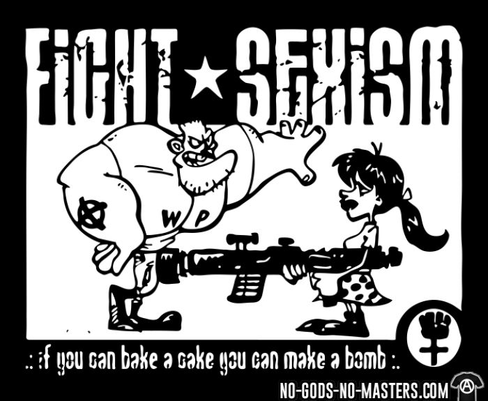 Fight sexism - if you can bake a cake you can make a bomb - T-shirt Féministe