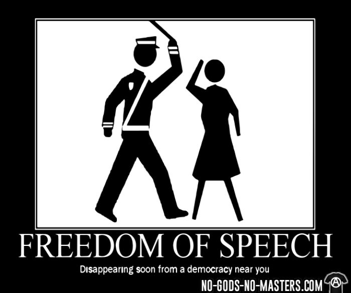 Freedom of speech: disappering soon from a democracy near you  - T-shirt humour engagé