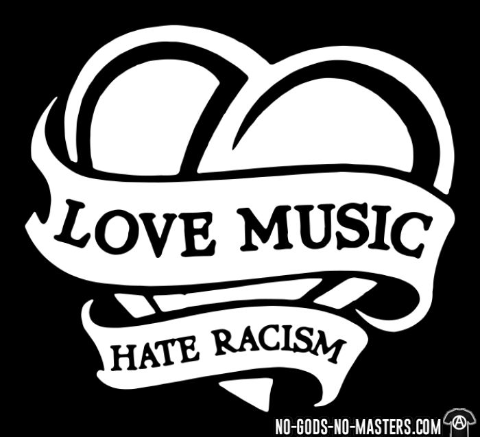 Love music hate racism - Sweat à capuche (Hoodie) Anti-Fasciste