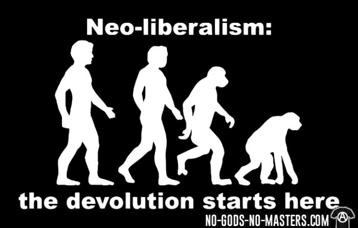 Neo-liberalism: the devolution starts here - T-shirt humour engagé