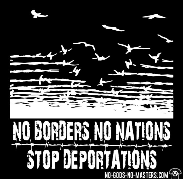 No borders no nations stop deportations - Sweat zippé Militant