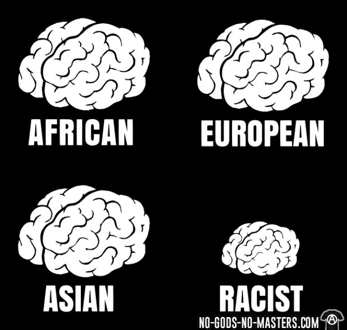 Racist small brain - T-shirt Anti-Fasciste