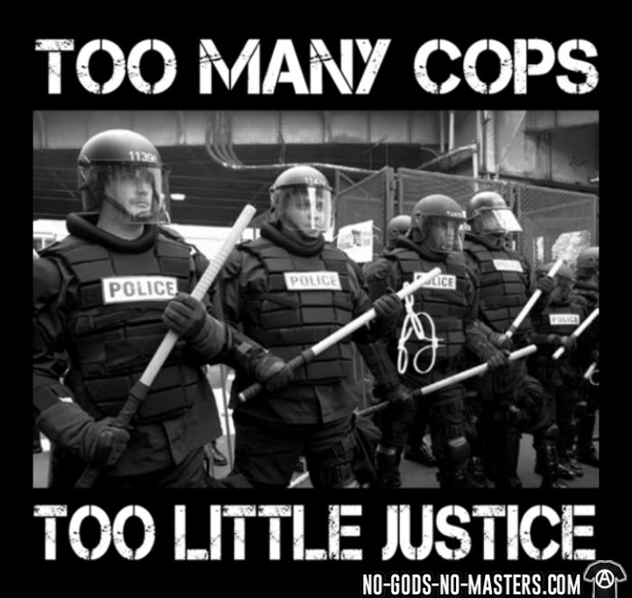 Too many cops too little justice - T-shirt organique ACAB anti-flic