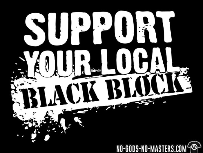 T shirt enfant support your local black block ni dieu ni for Black block