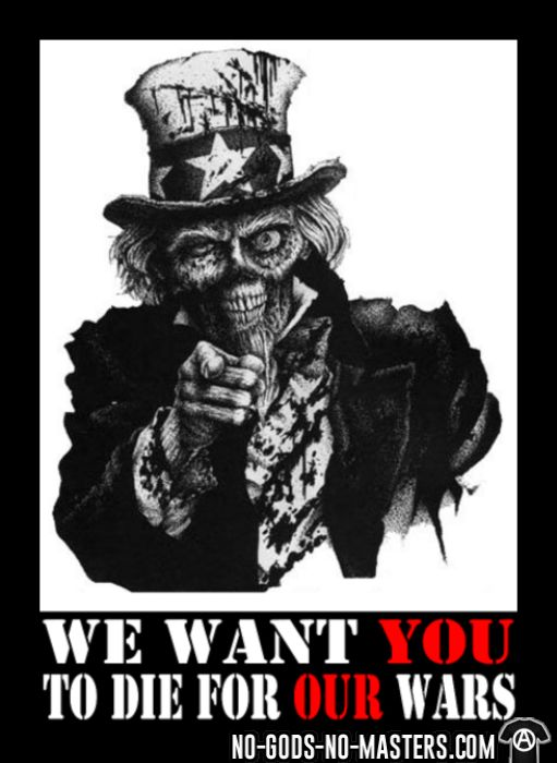 We want you to die for our wars - T-shirt anti-guerre