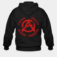 Hoodie à fermeture éclair Freedom equality anarcho-communism