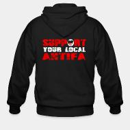Hoodie à fermeture éclair Support your local antifa