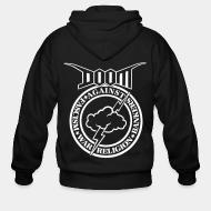 Hoodie à fermeture éclair Doom - against fascism, war, religion, bankers