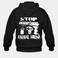Hoodie à fermeture éclair Stop animal abuse