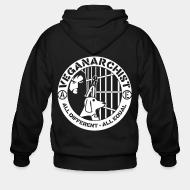Hoodie à fermeture éclair Veganarchist - all different, all equal