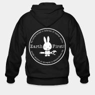 Hoodie à fermeture éclair Earth first! no compromise in defence of mother earth