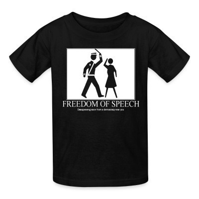 T-shirt enfant Freedom of speech: disappering soon from a democracy near you
