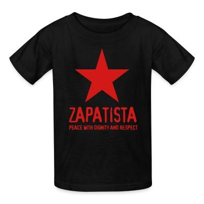 T-shirt enfant Zapatista. Peace with dignity and respect