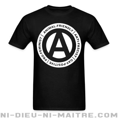 T-shirt ♂ Animal-friendly / anti-fascist / gay-positive / pro-feminist - Politique & révolution