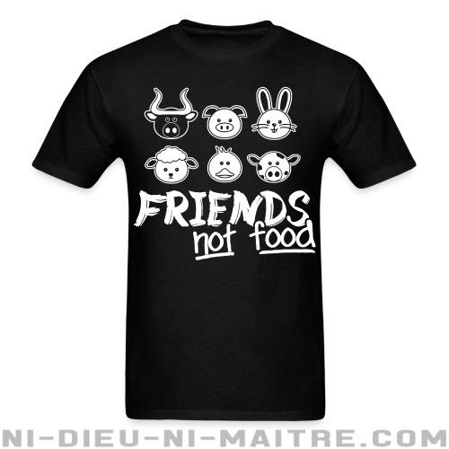 Friends not food - T-shirt imprimé au dos véganes et libération animale