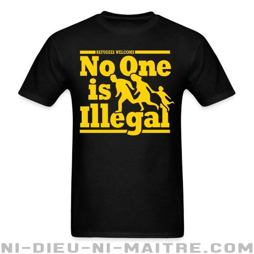 T-shirt avec impression au dos Refugees welcome - no one is illegal - Antifa & anti-racisme
