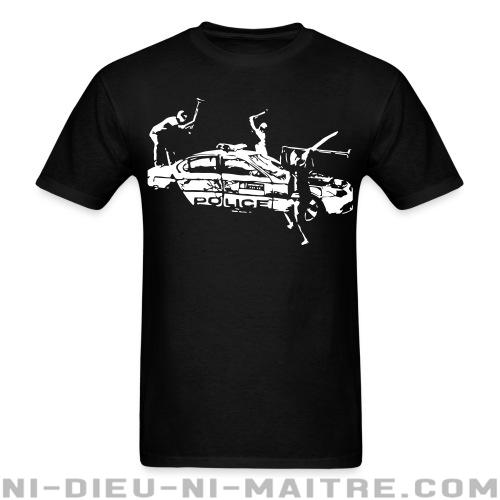 Rioters attacking a police car - T-shirt ACAB anti-violence-policiere