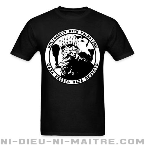 Solidarity with Palestine - gaza exists, gaza resists - T-shirt anti-guerre