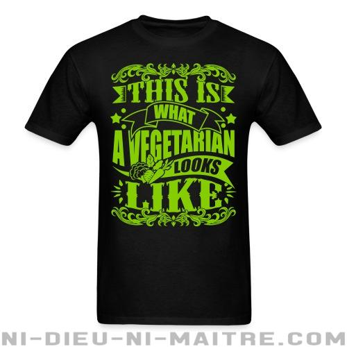 This is what a vegetarian looks like - T-shirt véganes et libération animale